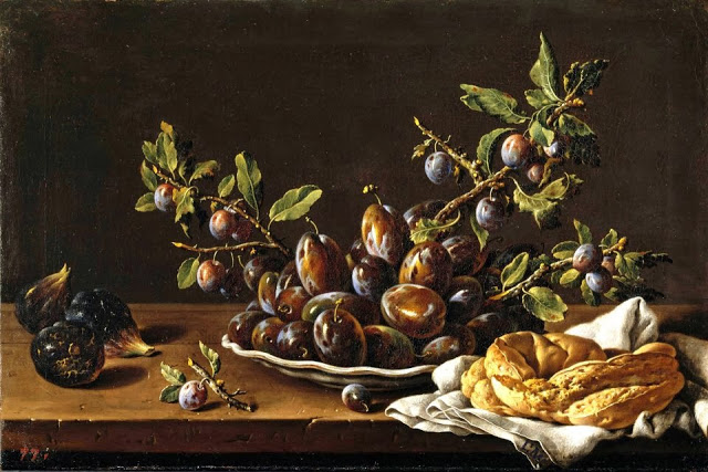 Luis Melendez Still Life with Bowl of Plums Figs and Bagel XVIII
