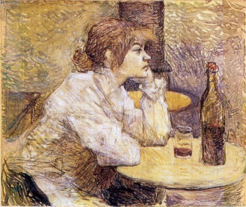 enri Toulouse-Lautrec, The Drinker / The Hangover / Portrait of Suzanne Valadon, 1887-88